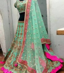 Buy dark sea green dupion silk designer heavy work lehenga with dupatta lehenga-choli online