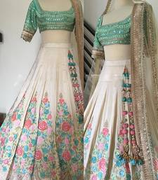Buy cream dupion silk heavy embroidery lehenga with dupatta lehenga-choli online