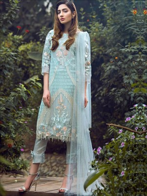 4b21384046 Sky blue georgette unstitched designer pakistani style indian salwar kameez  with dupatta - Zoharin - 2584886