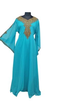 Turqoise Zari Stone Work Georgette Islamic Style Gown Beads Embedded PartyWear farasha