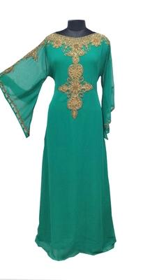 Teal Zari Stone Work Georgette Islamic Style Gown Beads Embedded PartyWear farasha