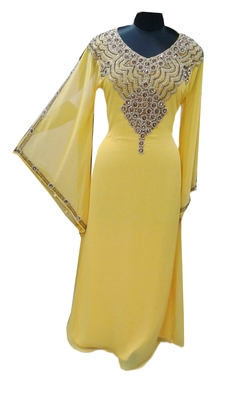 Yellow Zari Stone Work Georgette Islamic Style Gown Beads Embedded PartyWear farasha