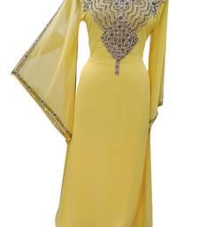 Yellow Zari Stone Work Georgette Islamic Style Gown Beads Embedded PartyWear farasha