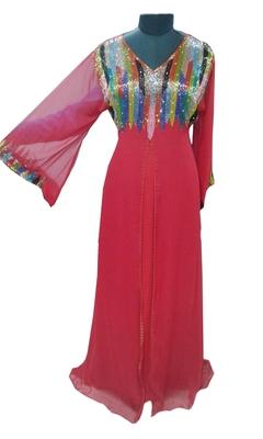 Red Zari Stone Work Georgette Islamic Style Gown Beads Embedded PartyWear farasha