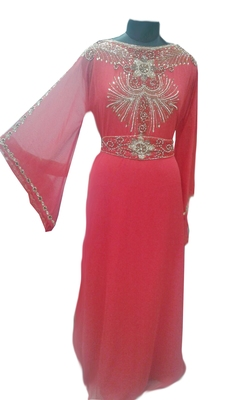 Red Zari Stone Work Georgette Islamic Style Gown Beads Embedded PartyWear farasha