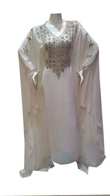 White Zari Stone Work Georgette Islamic Style Gown Beads Embedded PartyWear farasha