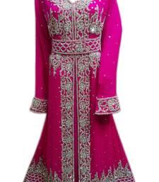 Pink Zari Stone Work Georgette Islamic Style Gown Beads Embedded PartyWear farasha