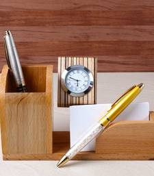 Bon 17% OFF Buy Designer Pens With Wooden Stand Includes Clock With Pen Paper  Holder Office Opening