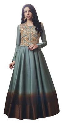 Grey coloured Dupion Silk semi stitched ethnic suits
