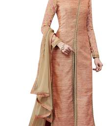Buy Peach coloured Raw Silk semi stitched ethnic suits straight-suit online