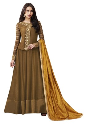 Brown coloured Dupion Silk semi stitched ethnic suits