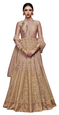 Beige coloured Dupion Silk semi stitched ethnic suits