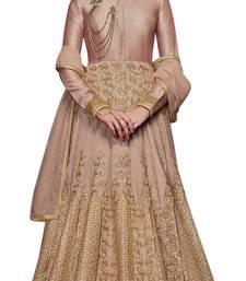 Buy Beige coloured Dupion Silk semi stitched ethnic suits anarkali-salwar-kameez online