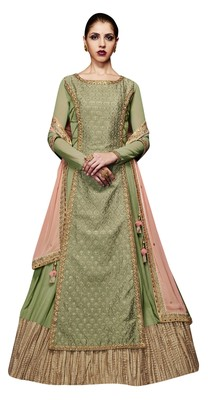 Green coloured Dupion Silk semi stitched ethnic suits