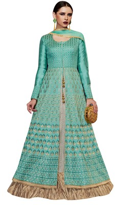 Sky Blue coloured Dupion Silk semi stitched ethnic suits