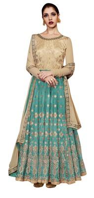 Multi coloured Dupion Silk semi stitched ethnic suits
