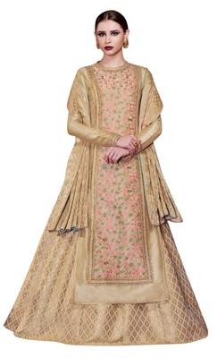 Cream coloured Dupion Silk semi stitched ethnic suits