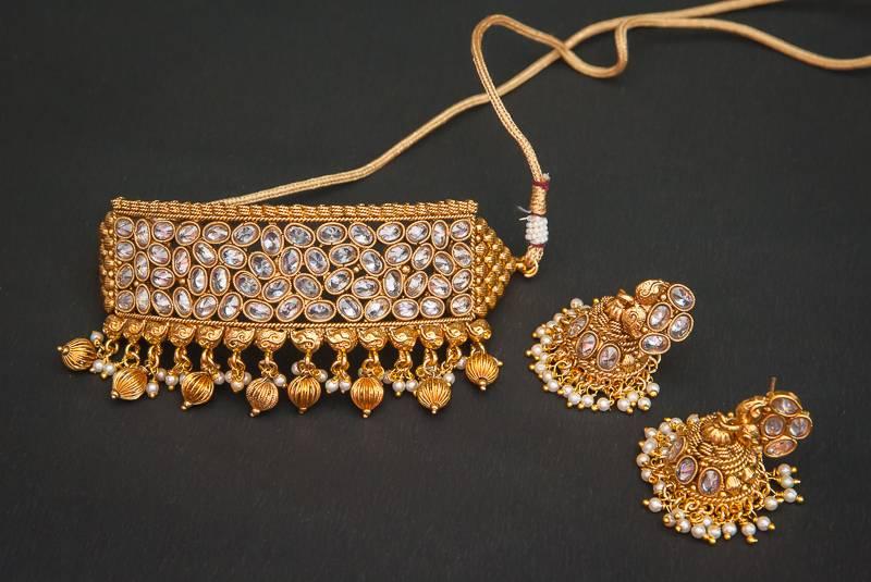 Buy Padmavat Polki Pearl Gold Plated Chokar Necklace Set