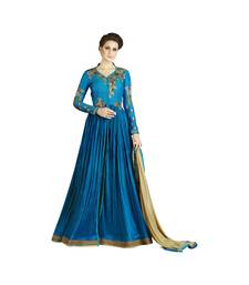 Blue coloured Dupion Silk semi stitched ethnic Anarkali suits