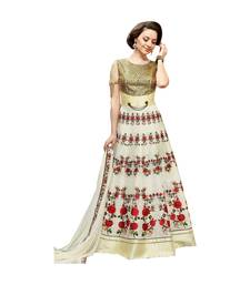 Buy Cream coloured Dupion Silk semi stitched ethnic suits anarkali-salwar-kameez online