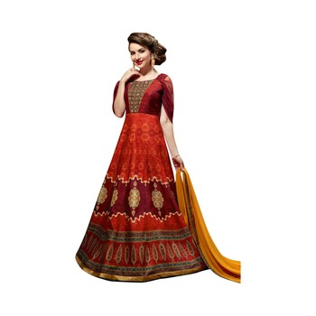 Maroon coloured Dupion Silk semi stitched ethnic suits