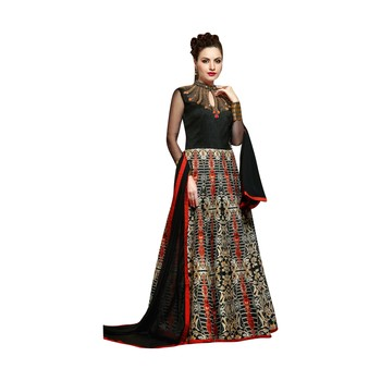 Black coloured Dupion Silk semi stitched ethnic suits