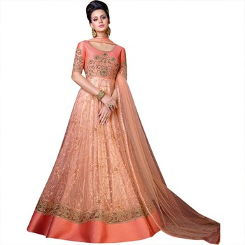Peach coloured net semi stitched ethnic suits