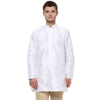 White Poly Dupion Men Kurta