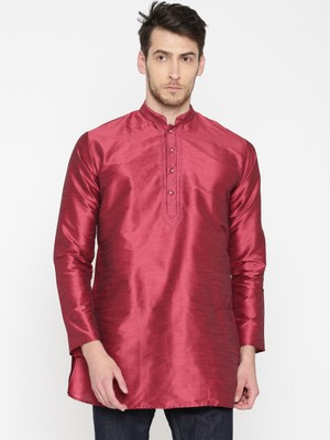 Red Poly Dupion Men Kurta