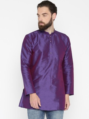 Purple Poly Dupion Men Kurta