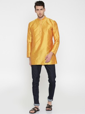 Gold Poly Dupion Men Kurta