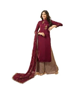 Violet embroidered art silk salwar