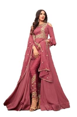 Light-rani-pink embroidered georgette salwar