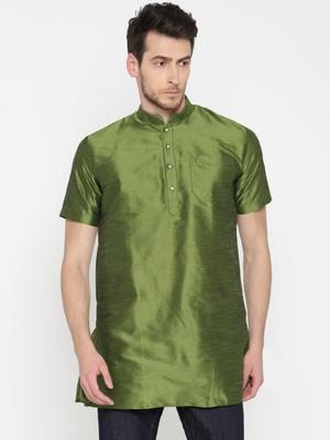 Green Poly Dupion Men Kurta