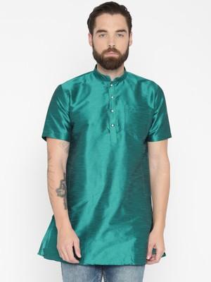 Rama Green Poly Dupion Men Kurta