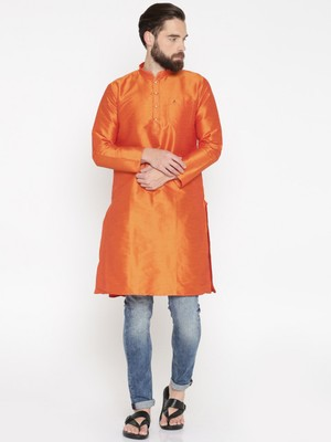 Ornage Poly Dupion Men Kurta
