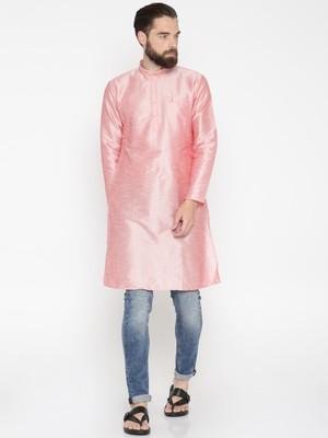 Baby Pink Poly Dupion Men Kurta