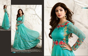 Blue embroidered dupion semi stitched salwar with dupatta