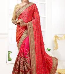 Pink  embroidered Georgette and Net  saree with blouse
