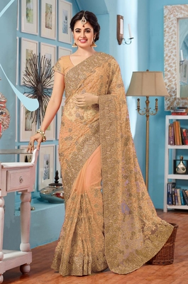 Beige embroidered Georgette Net  saree with blouse