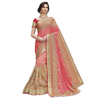 Pink  embroidered Georgette Net  saree with blouse