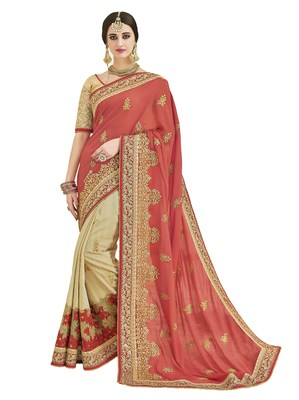 Peach embroidered chanderi silk saree with blouse