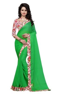 Green plain jacquard saree with blouse