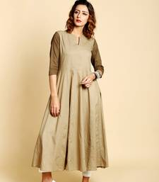 Light brown  cotton long kurtis