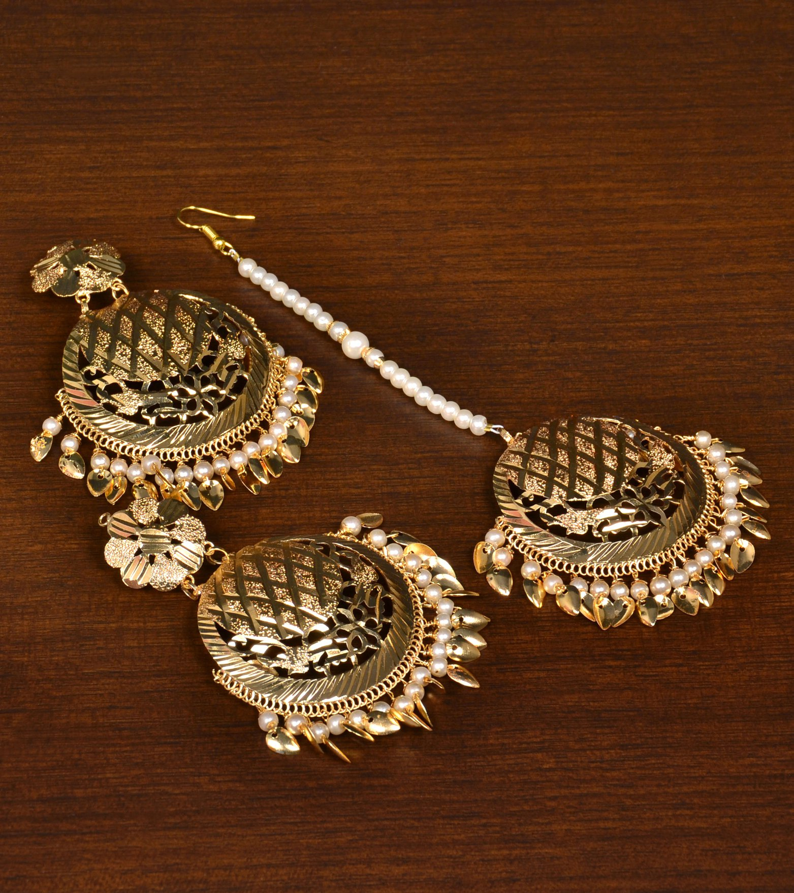 45de7497cea3d Gold plated pearls and peepal patti danglers earrings cum maang tikka set