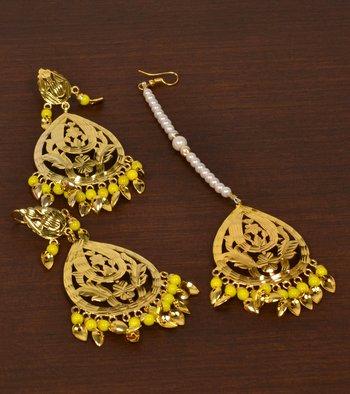 Gold Plated Beaded and Peepal Patti Danglers Earrings cum Maang Tikka Set
