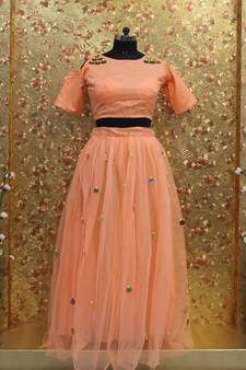 e08c440b98d Peach color mirror work Mono Net fabric Full Stitched crop-top with blouse