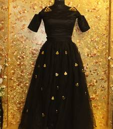 Buy Black color mirror work Mono Net fabric Full Stitched crop-top with blouse crop-top-lehenga online