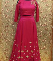Buy Pink color mirror work silk fabric Full Stitched crop-top with blouse crop-top-lehenga online