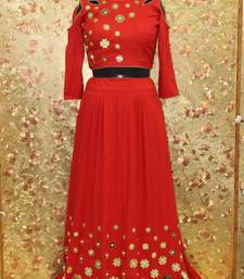 Buy Red color mirror work silk fabric Full Stitched crop-top with blouse crop-top-lehenga online